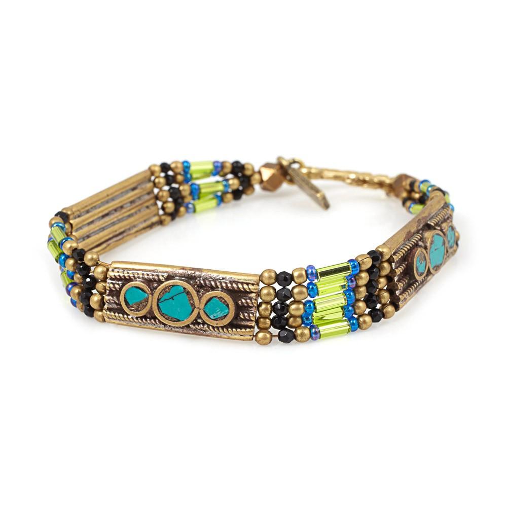 Small lemon moon shield bracelet