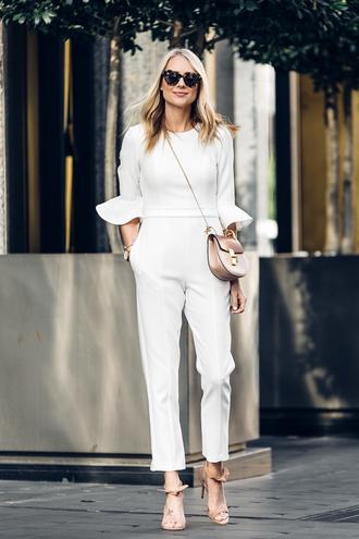 shoes bag sunglasses jewels fashionjackson blogger jumpsuit white jumpsuit crossbody bag sandals high heel sandals