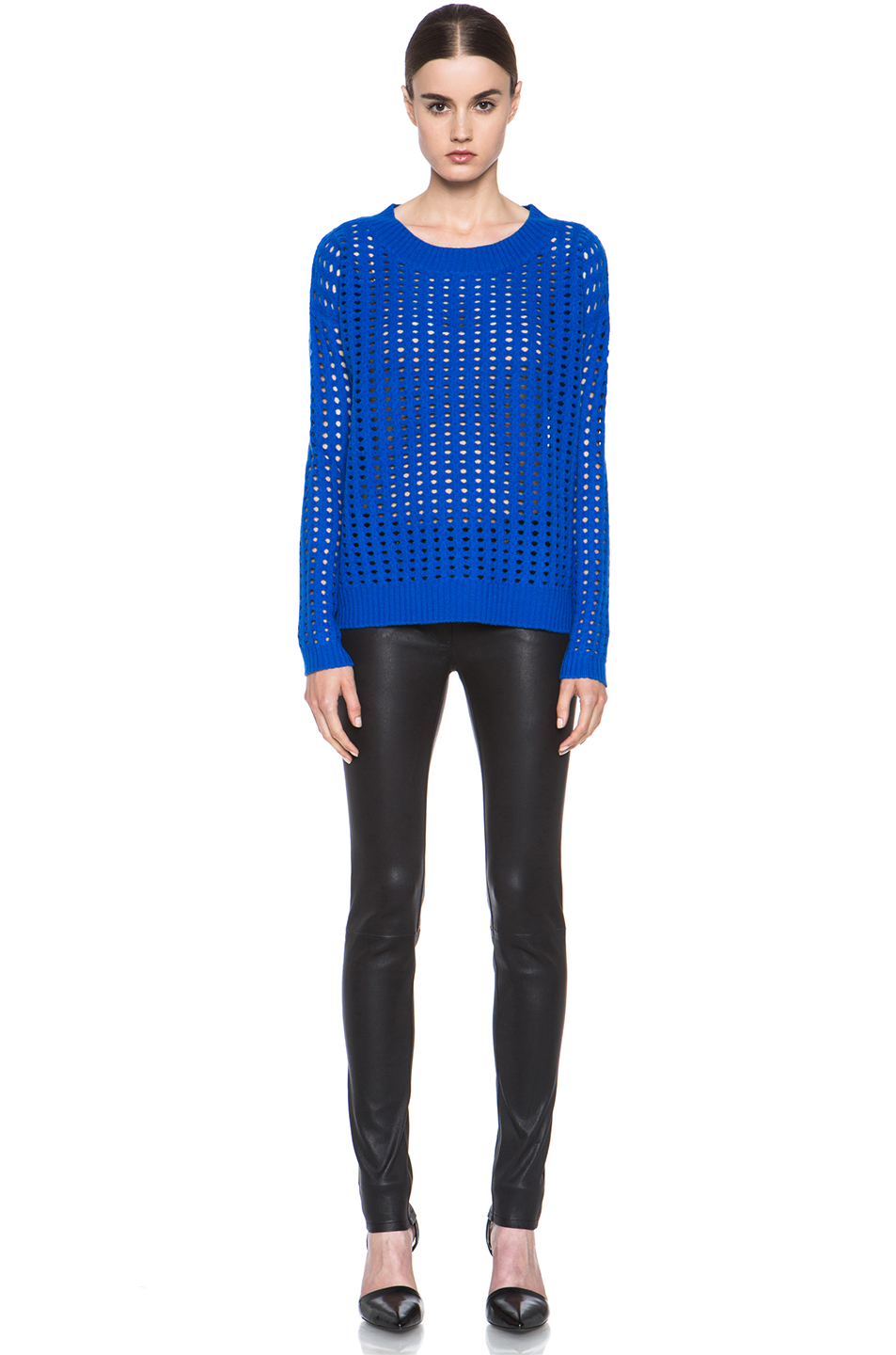 Tess Giberson|Mesh Sweater in Cobalt