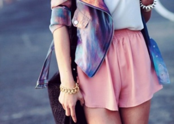 jacket galaxy print shorts jewels bag cute shorts cute jacket bracelets coat tie dye spiked bracelet chained bracelet shirt