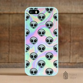 phone cover,iphone,alien,grunge,holographic,t-shirt,aliens grunge