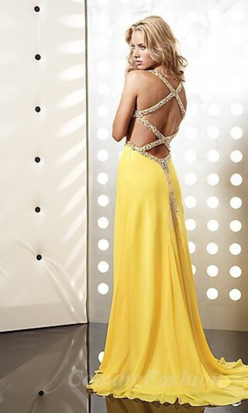 prom yellow open back prom dress