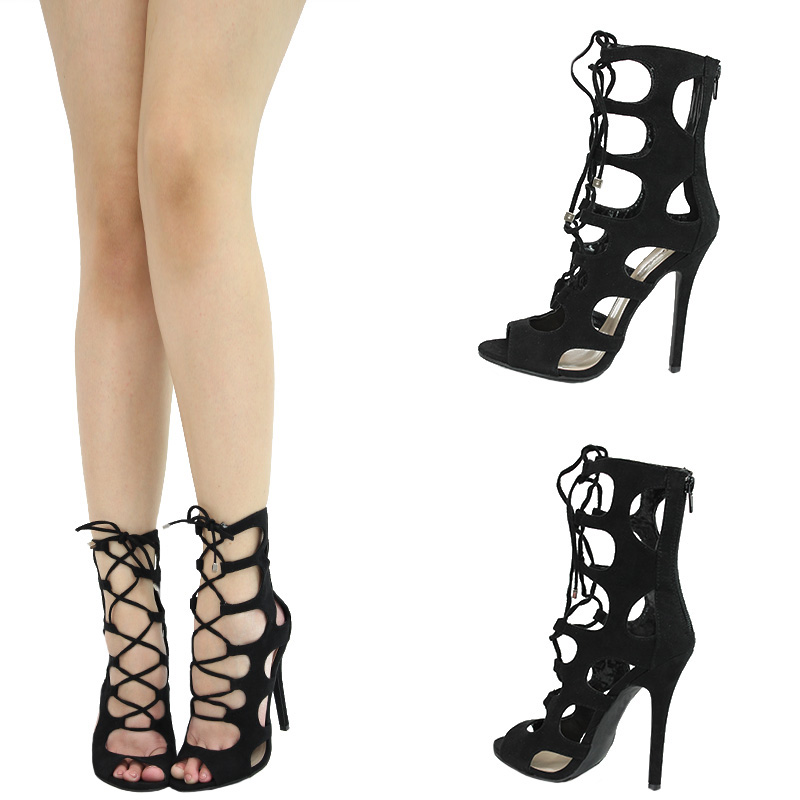 Lace Up Strappy Cut Out Cage Gladiator Stiletto Heel Pump Sandal
