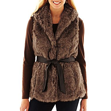 Coffee Shop Belted Faux-Fur Vest - jcpenney
