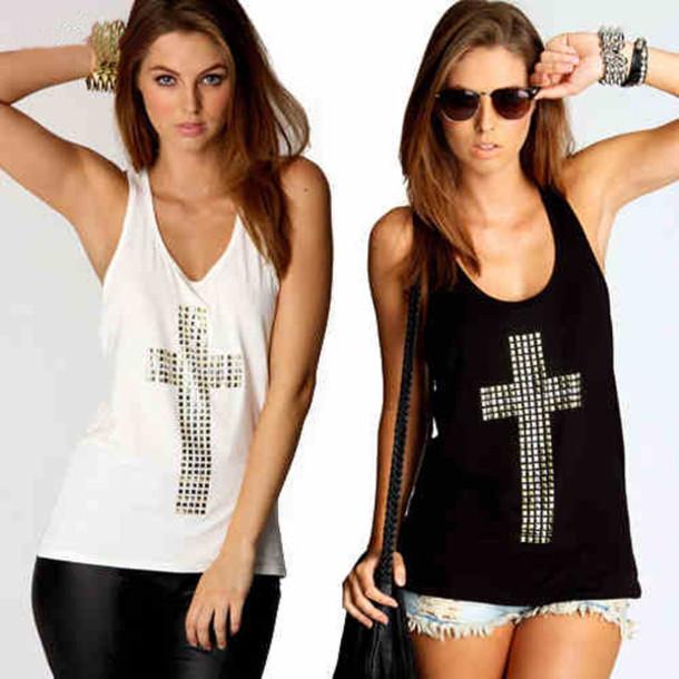 top debardeur black or white noir blanc croix shirt women girl girly summer top summer