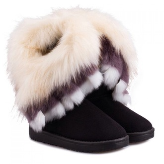 furry boots fluffy black cute shoes musthave boots winter boots snow boots fur