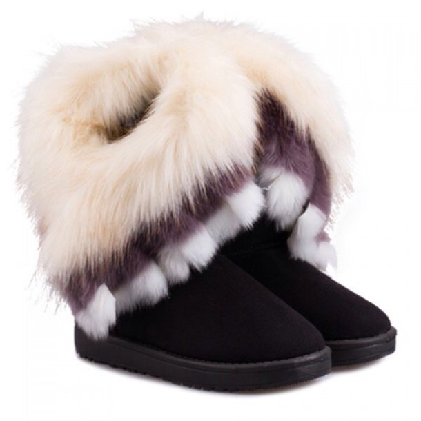 furry boots fluffy black cute shoes musthave boots winter boots snow boots  fur b3c39f80d