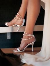 shoes,lammiiaa,white,pearl ankle straps,wedding shoes,pearl,satin,strappy,stilettos,white pearl ankle strap shoes,pearl sandals,sandal heels