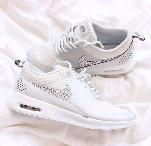 Limited light gray nike air max thea adorned with swarovski crystals