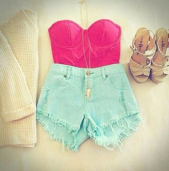 shirt strapless top shorts high waisted shorts shoes