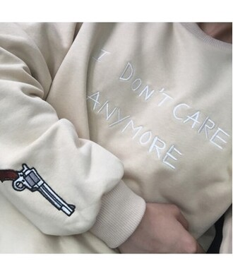 sweater quote on it cream gun hipster it girl shop