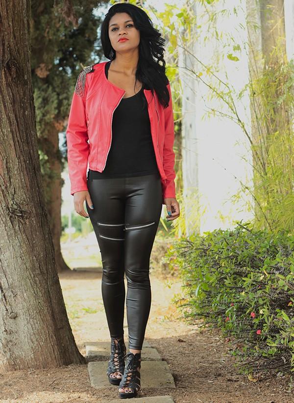 jacket vogue fashion fashionblogger lookbook cute dress leggings red shoes moda trendy