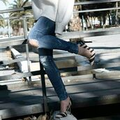 shoes,tumblr,pumps,pointed toe pumps,high heel pumps,stripes,heels,denim,jeans,blue jeans,ripped jeans,skinny jeans,sweater,white sweater