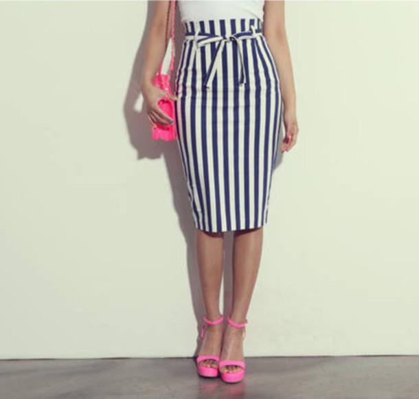 White And Black Pencil Skirt - Dress Ala
