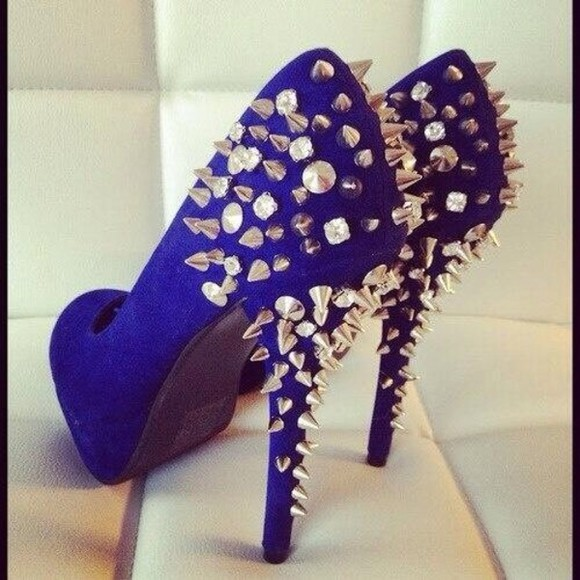 shoes studded shoes royal blue royal blue heels stud studded diamond rhinestone prom dress gown promdress prom gown split sexy hot cute night dressy cute high heels gorgeous shoes