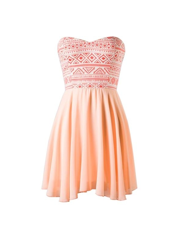 Peach tribal sweetheart dress