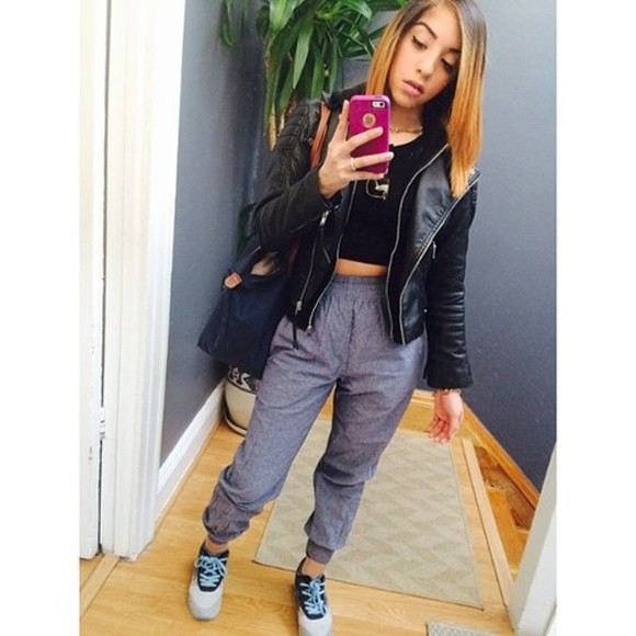 iphone cover bag pants crop tops leather jacket shoes