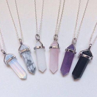 jewels collier hipster bikini black bikini colorful necklace jewelry boho boho chic boho jewelry rose quartz necklace bohemian pastel light blue lavender crystal stone necklaces accessory neck quartz crystal quartz pretty cute purple white black tumblr moontone marble raw stone