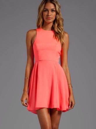 orange dress orange neon blonde hair style