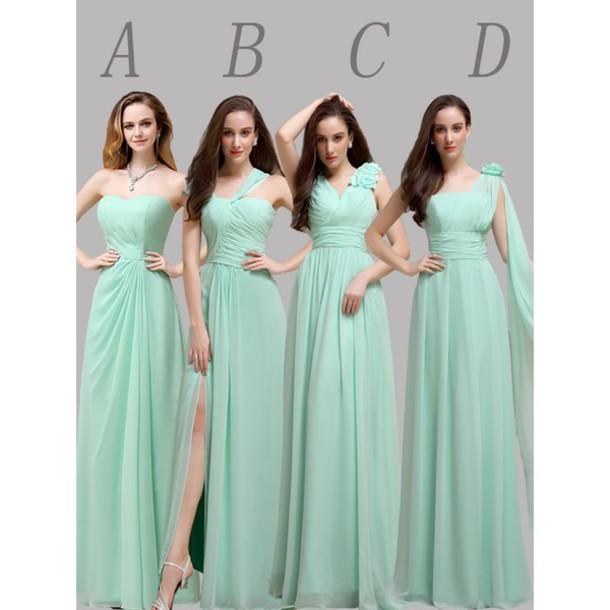 dress mismatched mint bridesmaid chiffon long