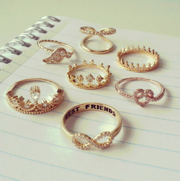 jewels gold golden jewels gold ring heart crown ring crown wings wing ring bff infinity infinity ring best friends infinity ring