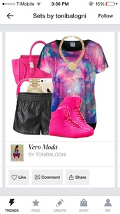 shirt,short sleeve,glaxy,pink,purple,shoes