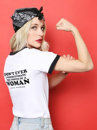 t-shirt slogan t-shirts feminist graphic tee quote on it bandana print hairstyles feminist tshirt