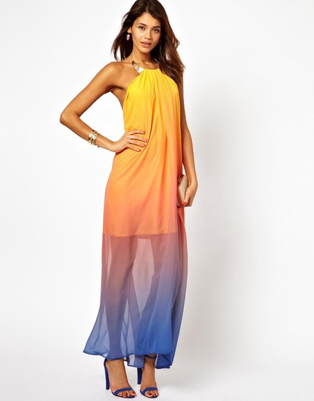 dress multi rainbow backless backless dress chiffon maxi maxi dress beautiful multicolor openback dress open back open back dresses long dress formal dresses formal formal dress