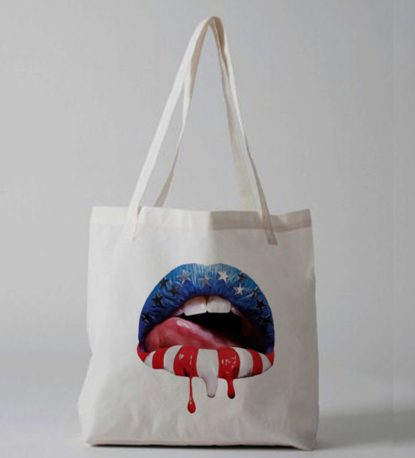 bag lipstick red white and blue july 4th tote bag tote bag sexy sexy lip print tote bag purse canvas tote
