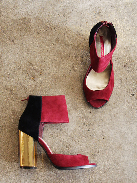 shoes two tone heels red heels ankleboot