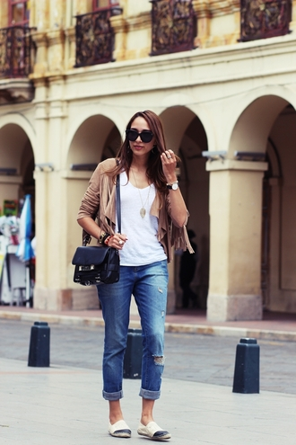 preppy fashionist blogger sunglasses camel ripped jeans flats black bag white t-shirt jacket t-shirt jeans jewels bag