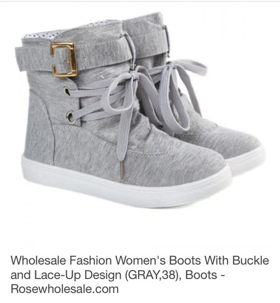 shoes light grey cloth boot with bucklele