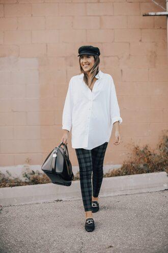 stephanie sterjovski - life + style blogger shirt leggings shoes hat bag jewels white shirt handbag loafers fall outfits