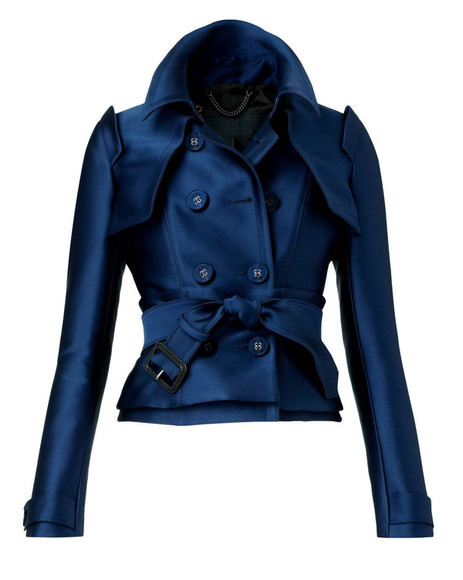 yellow trench coat jacket dark blue satin double breasted