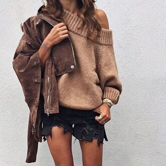 sweater tumblr beige sweater jacket brown jacket suede jacket suede shorts denim shorts black shorts