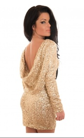 dress,sequence,bodycon,bodycon dress,gold,gold sequins,mini dress,no back dress