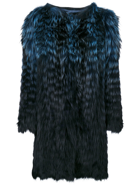 coat fur coat fur fox women blue silk
