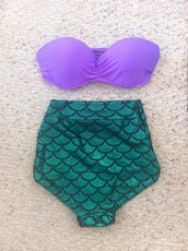 swimwear,the little mermaid,mermaid,bikini,purple top,green bottom,sea creatures,mermaid bikini,high waisted bikini,high waisted