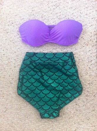 swimwear the little mermaid mermaid bikini purple top green bottom sea creatures mermaid bikini high waisted bikini high waisted little mermaid high waist bikini