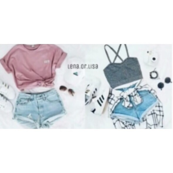 top lisa and lena gray shirt pink top denim shorts cotton clothes girl shirts