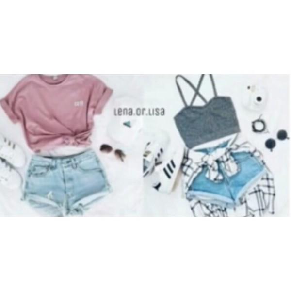 top lisa and lena gray shirt pink top denim shorts cotton clothes girl shirts