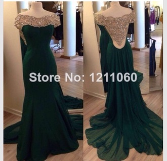 dress prom dress prom gown gown fashion style backless dress sparkle sparkly dress pretty beautiful green dress green formal dress formal homecoming dress