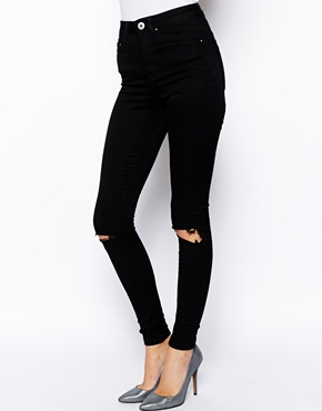 ASOS | ASOS Ridley High Waist Ultra Skinny Jeans in Clean Black with Busted Knees at ASOS
