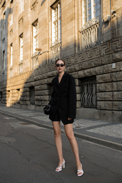shoes,blazer,black blazer,sunglasses,black shorts,bag,leather sandals