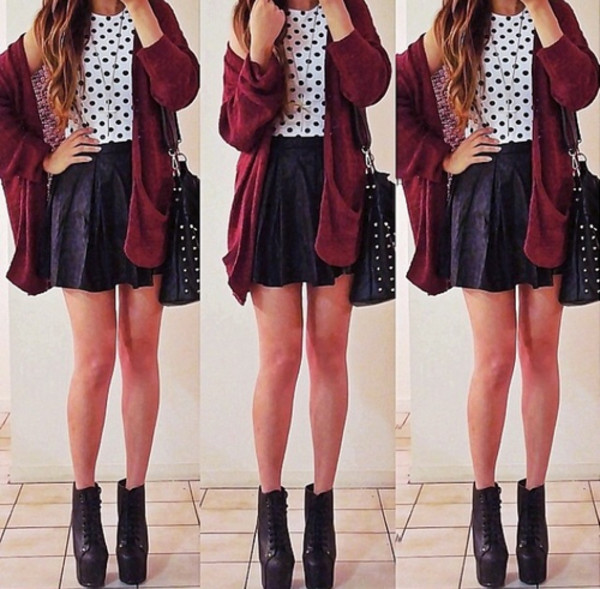 shoes skirt bag sweater shirt