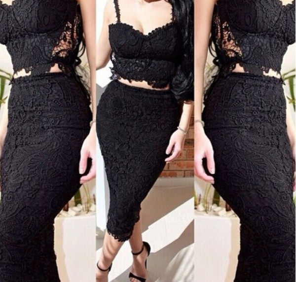 lace two piece lace dress lace skirt lace crop top bodycon dress pencil skirt lacey dress little black dress little black dress wear bandage dress two-piece set two-piece two-piece skirt same
