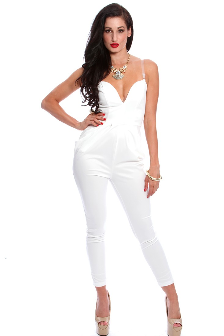 White Pleated Empire Waist Sexy Jumpsuit Outfit