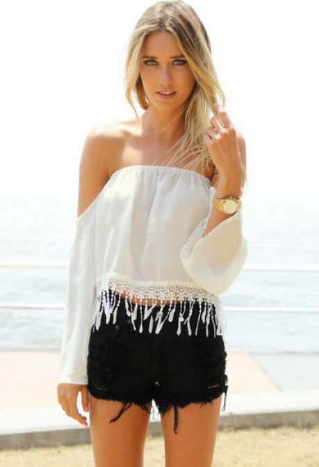 White off the shoulder strapless blouse