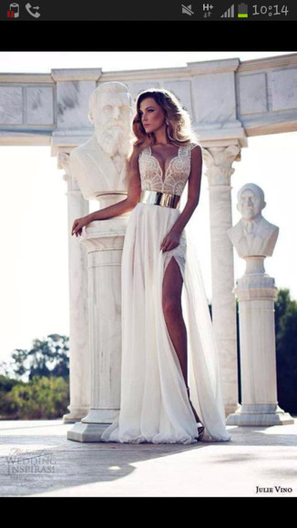 dress white dress white baige beige dress scalloped prom dress gold belt white prom dress long dress long prom dress long white dress long white prom dress