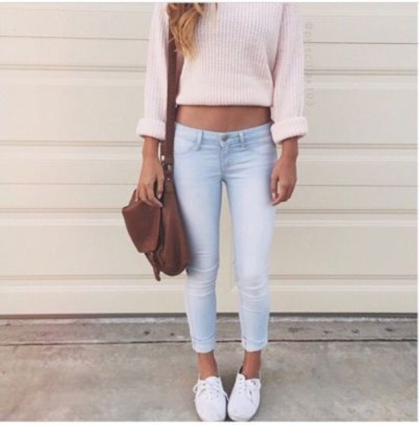 ce57ce10b64 jeans sweater jumper pink light pink cute love short white light blue jeans  white shoes shoes
